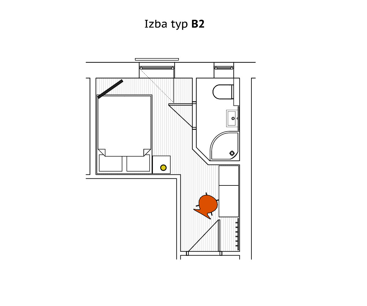 Double room Type B - ground plan
